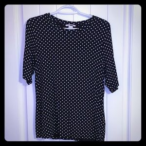 Cropped sleeve polka dot shirt